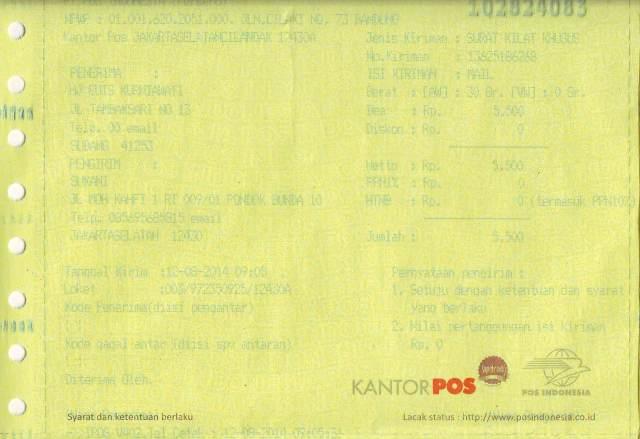 Resi pengiriman Sertifikat Ibu Hj Euis Kurniawati