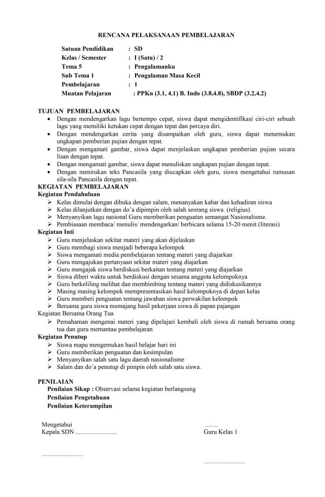 RPP 1 Halaman/Lembar SD Terbaru 2020